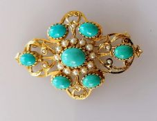 A mid-century pearl, turquoise and gold oval brooch, 50 x 35mm, unmarked, tests for high quality