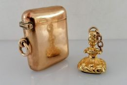 A late Victorian 9ct yellow gold vesta case by William Neale, Chester, 1901, hallmarked, 43mm x