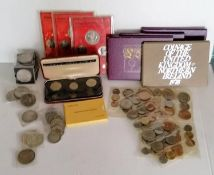 A selection of British George V, VI half-crowns, 1953 five-shilling coins, Churchill 1964 coins,
