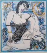 Frederic Pierre (b.1951), UN POISSON AU CREUX DE LA MAIN, dry point and chalk pastel, signed and