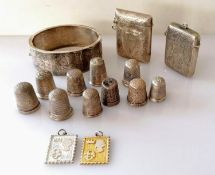 A selection of ten silver thimbles: two by Charles Horner, Chester, two by Henry Griffith & Sons