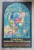 Marc Chagall poster printed by Mourlot for the Hadassa Medical Relief Association, 1961: WINDOWS FOR