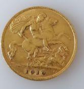 An Edwardian gold half-sovereign, 1910