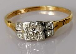 An Art Deco illusion-set diamond ring on a platinum setting and 18ct yellow gold shank, size R, 2.
