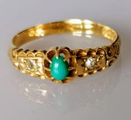 An Edwardian 18ct gold ring with turquoise and diamond decoration, size S, hallmarked, 3.2g