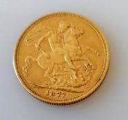 A Victorian gold full sovereign, 1877