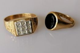 A mid-century gold platform ring with diamond decoration and a gold and onyx ring, both hallmarked