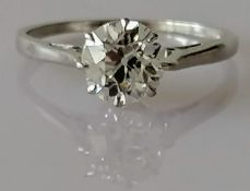 A certified solitaire old European-cut diamond ring measuring 1.24ct, estimated colour/clarity G-