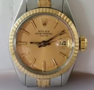 A Rolex Oyster Perpetual Date bi-colour stainless steel, signed jubilee link bracelet watch, 62523-