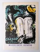 CHAGALL ET LA BIBLE, MUSEE RATH GENEVE 30 JUIN - 26 AOUT 1962, 34 X 25.5 CM, lithograph, signed in