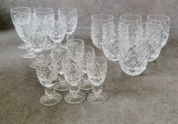 Four 1960's suites of Waterford Crystal drink ware: Tyrone Claret 604-582 x 6, Boyne Sherry 602-