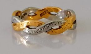 A yellow gold and platinum woven-style ring, size J, stamped 22ct, 3.64g