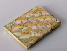A mother-of-pearl oblong card case with hinged lid and floral decoration, 10 x 8 cm, in good
