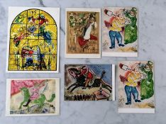 Six Marc Chagall postcards used as New Year greetings cards signed by Vava Chagall dating from