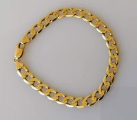 A 9ct yellow gold flat curb-link bracelet with lobster clasp, hallmarked, 20 cm, 11.72g, clasp good