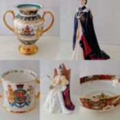 A Royal Doulton figure of Queen Elizabeth II at her Coronation, HN4476, height 19cm, 451/2000; a