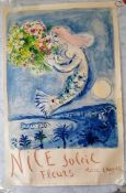 Marc Chagall, Bay of Angels, Nice Soleil Fleurs, poster lithograph printed in 1962 from an edition