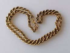 An Italian 9ct yellow gold neck chain, import marks, 42 cm, 11g