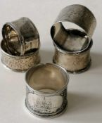 A 19th century Imperial Russian 84 silver niello napkin ring with seaweed decoration and depiction