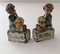 Two pre-WW2 Pixyland promotional lead figure Kew 'Quenchie Sn'ice' seated girls, each 45 x 25mm