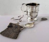A Birmingham silver christening mug by Barker Ellis Silver Co., 1964, 7.5 cm H, unadorned; a