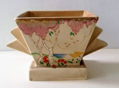 An Art Deco Clarice Cliff for Wilkinson Taormina pattern vase with stylized handles, hand-painted in
