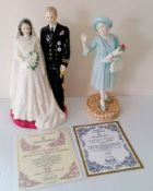 A Royal Doulton figurine of The Queen and Duke of Edinburgh, HN3836, Golden Wedding, 23.5 cm H and