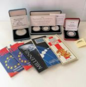 A Royal Mint 1994 Three Coin Silver Proof collection commemorating the 50th anniversary of the