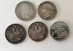 A Charles II crown dated 1662; a Queen Victoria crown dated 1845, young head l, regnal year to the