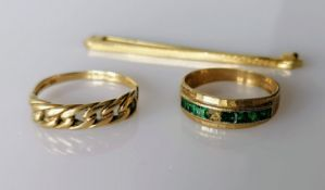 Two 9ct gold rings, (stone missing from one), sizes Q, N, both hallmarked and a tie pin, stamped
