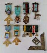 An assortment of silver gilt Masonic medals and badges with ribbons, all hallmarked. Gross weight