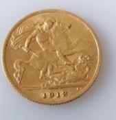 A George V gold half-sovereign, 1913