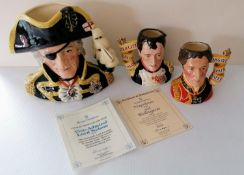 A pair of Royal Doulton character jugs of Napoleon, model D7001 and Wellington, D7002, each 11 cm