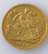 A late Victorian gold half sovereign, 1894