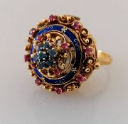 A mid-century ruby, topaz and enamel cocktail watch ring with Swiss manual movement by Rox on an