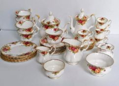 A fifty-piece Royal Albert Old Country Roses tea/coffee service and part dinner service comprising: