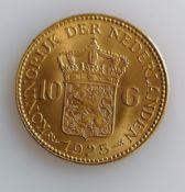 A 10 Guilders (Gulden) Netherlands Wilhelmina gold (.900) coin, 1925, 6.7g