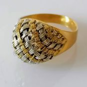A white and yellow gold dress ring with woven pattern, size O, stamped 750, 5.64g