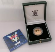 A Royal Mint End of WWII Anniversary £2 gold proof coin with COA and original packaging