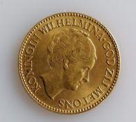 A 10 Guilders (Gulden) Netherlands Wilhelmina gold (.900) coin, 1933, 6.7g