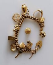A gold charm bracelet, each link and charm hallmarked 9ct, 19 cm, 58.5g