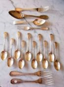 A Victorian set of ten fiddle pattern silver teaspoons by Chawner & Co., London, 1868, crested, each