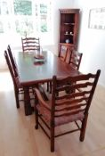 A set of six (4 + 2 carvers) Royal Oak Furniture Company ladder back dining chairs with fabric