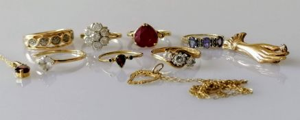 Seven gold gem-set rings, mixed sizes, one brooch and two pendants, all hallmarked 9ct, 19.32g (10)