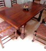 A Royal Oak Furniture Company Balmoral range, pre-distressed refectory table with carved frieze,