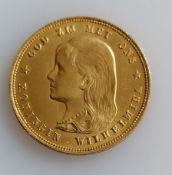 A 10 Guilders (Gulden) Netherlands Wilhelmina Young Head gold (.900) coin, 1897, 6.7g