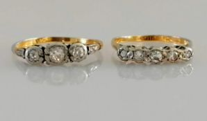 A five-stone and three-stone diamond ring, both on yellow gold, illusions settings, sizes O, R, both