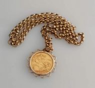 A George V gold full sovereign, Sydney mint, 1914, on a hallmarked 9ct gold mount and rollo chain,