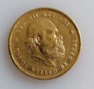 A 10 Guilders (Gulden) Netherlands Willem III gold (.900) coin, 1876, 6.7g