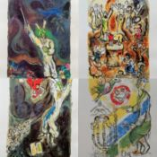 After Marc Chagall, four grano-lithographs from his Exodus series on Arches paper, printed in 1984
